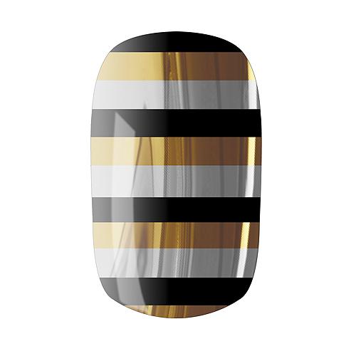 NAIL ROCK ll ネイルロックll デザイナーネイルラップ stripes gold silver black